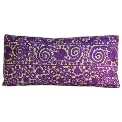 19th Century Purple Embroidered Moroccan Decorative Bolster Pillow