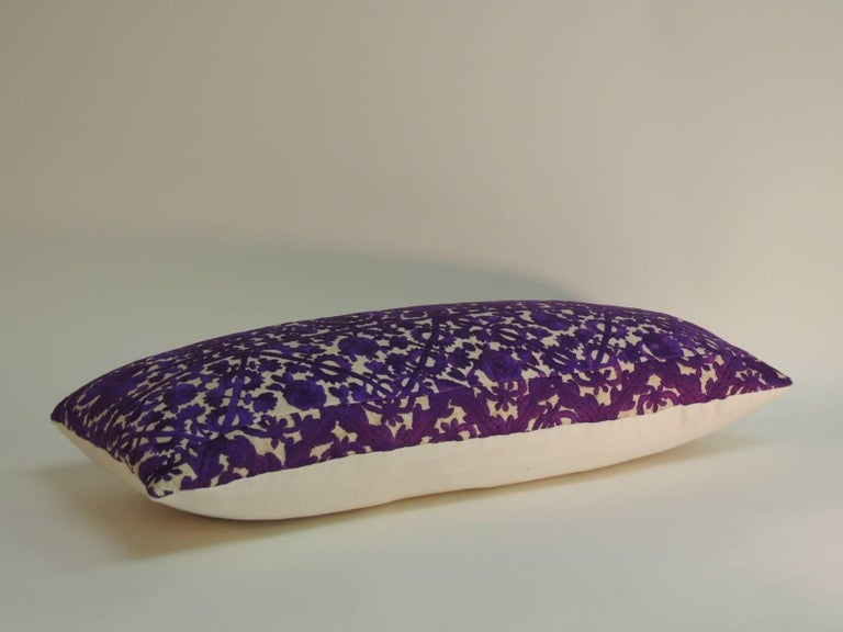 Suzani 19th Century Purple Embroidered Moroccan Decorative Bolster Pillow For Sale