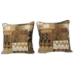 Pair of Brown and Grey Mid-Century Modern Decorative Pillows