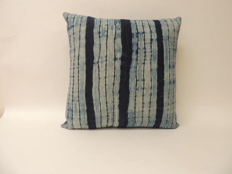Hand-Crafted Vintage Shibori Stripe Blue Asian Decorative Bolster Pillow For Sale