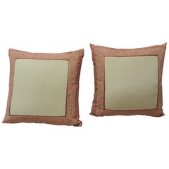 Pair of Fortuny Pink Tapa Border Decorative Pillows