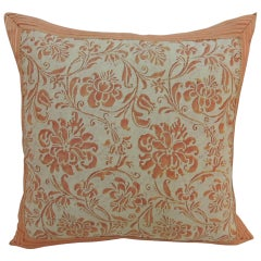 "CLOSE OUT SALE: Pink & Ecru Vintage Fortuny ""Cimarosa"" Floral Decorative Pillow"