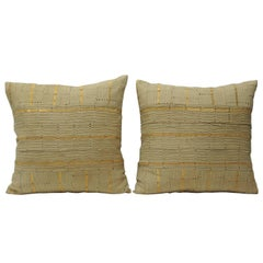 Pair of Vintage African Gold and Tan Woven Decorative Pillows