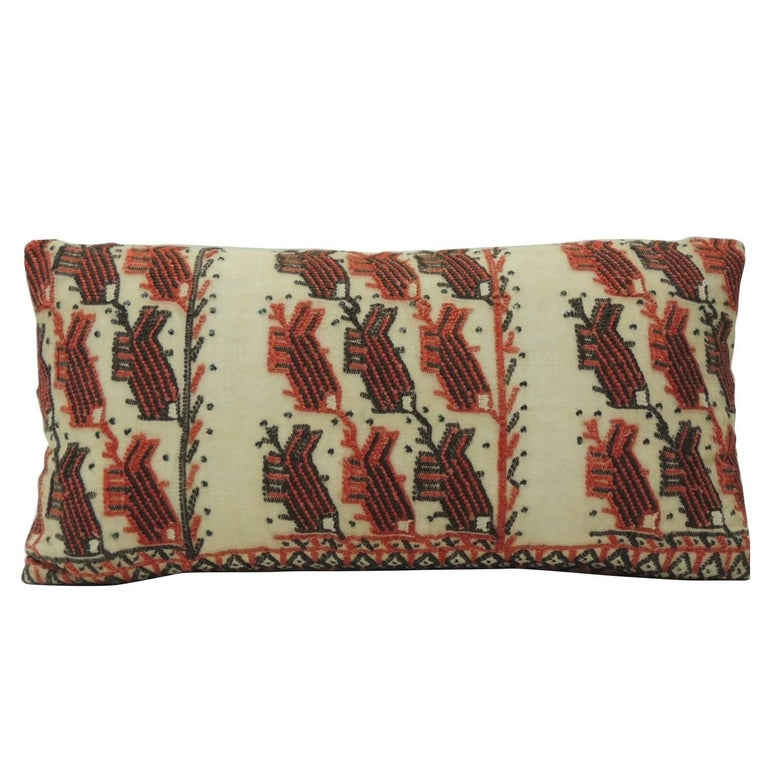19th Century Turkish Embroidery Lumbar Decorative Pillow For Sale
