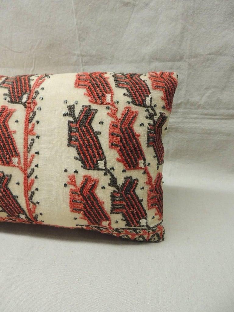 Moorish 19th Century Turkish Embroidery Lumbar Decorative Pillow For Sale