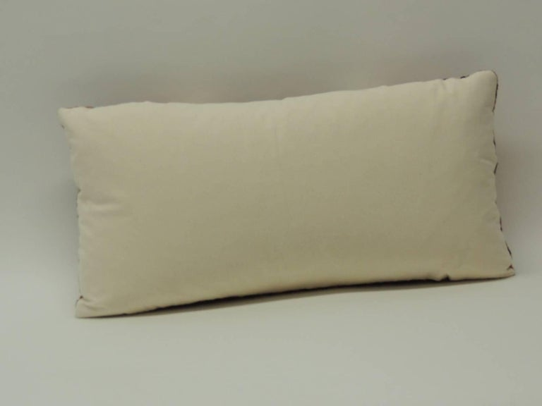 19th Century Turkish Embroidery Lumbar Decorative Pillow In Good Condition For Sale In Fort Lauderdale, FL