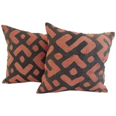 Pair of Vintage Red and Grey African Raffia Applique Decorative Pillows