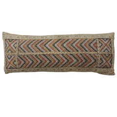 19th Century Indian Red and Gold Long Decorative Bolster Pillow