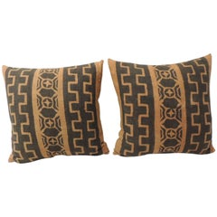 Pair of African Brown Woven Decorative Pillows with Tribal Pattern