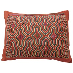 Vintage Red and Blue Tribal Textile Decorative Bolster Pillow