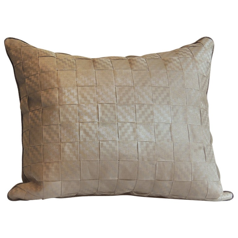 19th Century Woven Silver French Ribbon Decorative Bolster Pillow For Sale