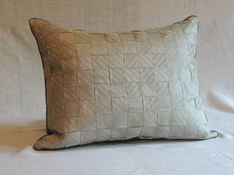 Antique French metallic silver textured ATG custom ribbons pillow. Silver twisted cord details and silver silk backing. Decorative pillow handcrafted and designed in the USA. Closure by stitch (no zipper closure) with custom-made pillow