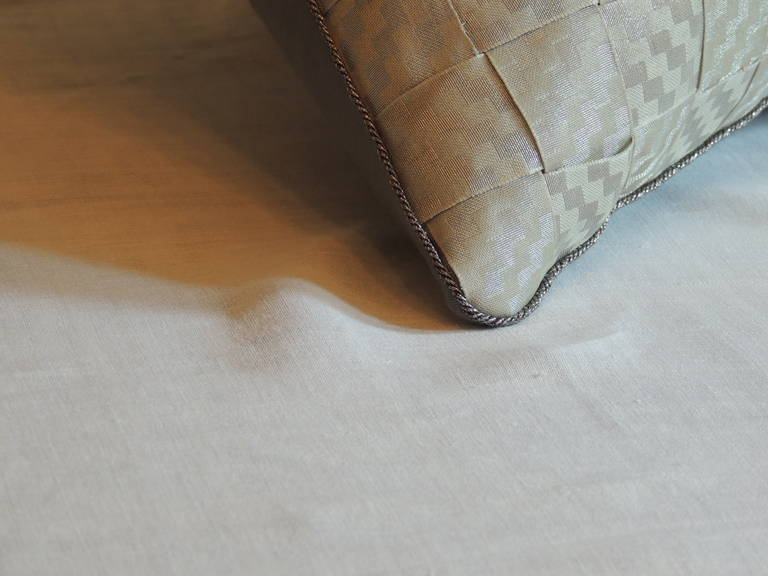 Hand-Crafted 19th Century Woven Silver French Ribbon Decorative Bolster Pillow For Sale