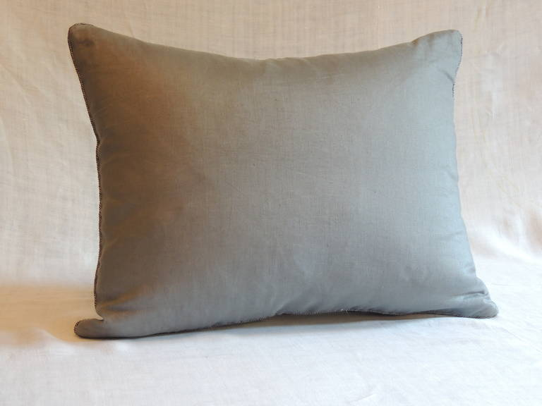 19th Century Woven Silver French Ribbon Decorative Bolster Pillow In Good Condition For Sale In Fort Lauderdale, FL