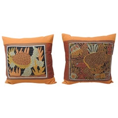 Pair of Tropical Sea Turtles Embroidery Decorative Pillows