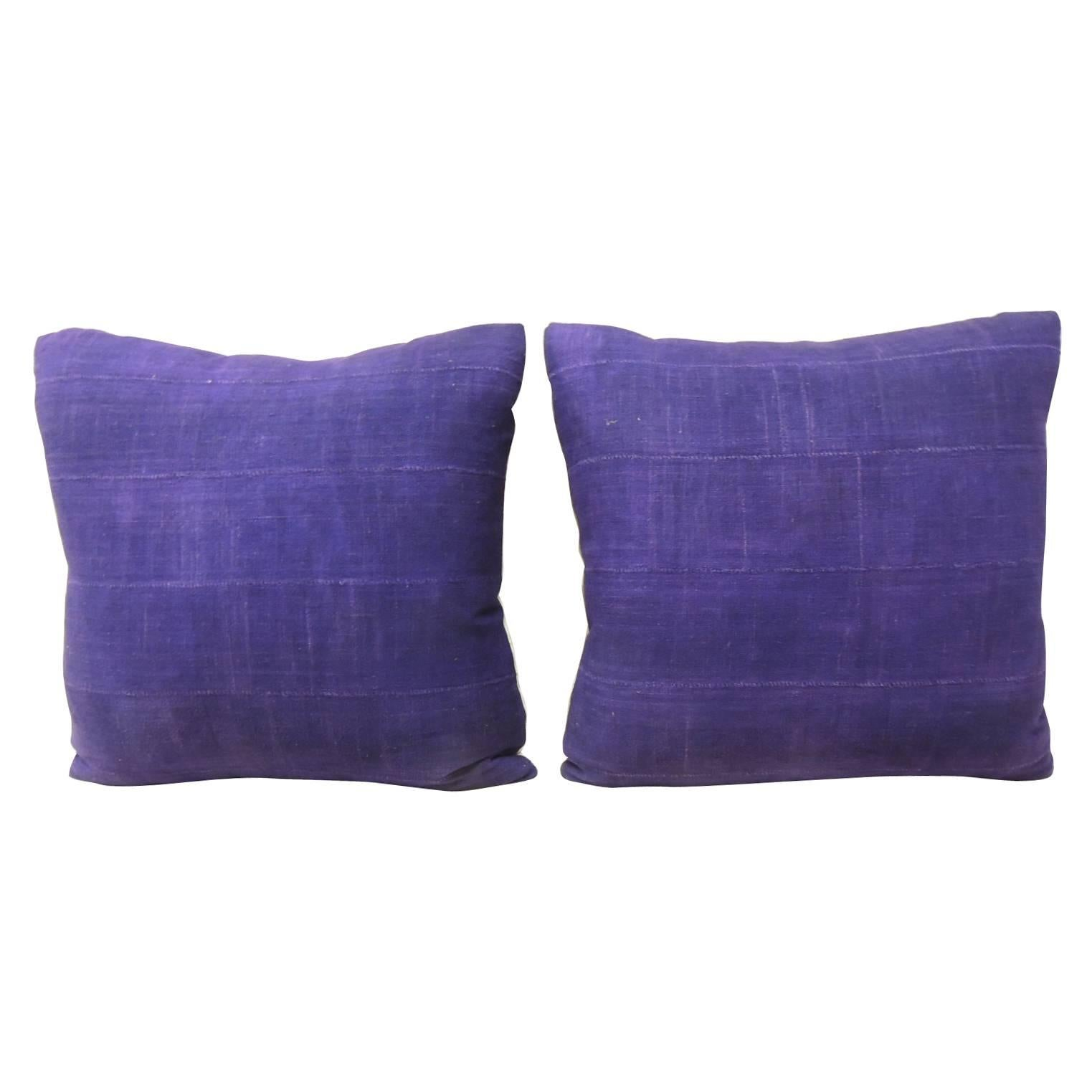 Pair of Vintage Deep Purple Woven Mud Cloth African Decorative Pillows