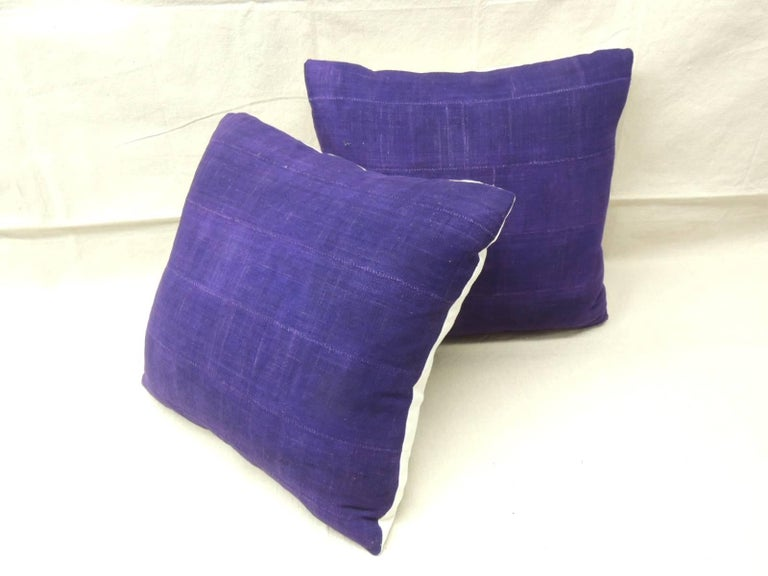 Tribal Pair of Vintage Deep Purple Woven Mud Cloth African Decorative Pillows For Sale