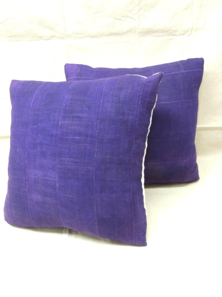 Hand-Crafted Pair of Vintage Deep Purple Woven Mud Cloth African Decorative Pillows For Sale