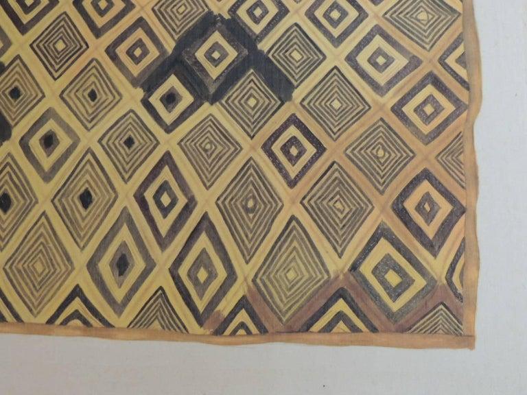 Tribal Framed Hand-Painted African Kuba Velvet Textile Framed Art For Sale