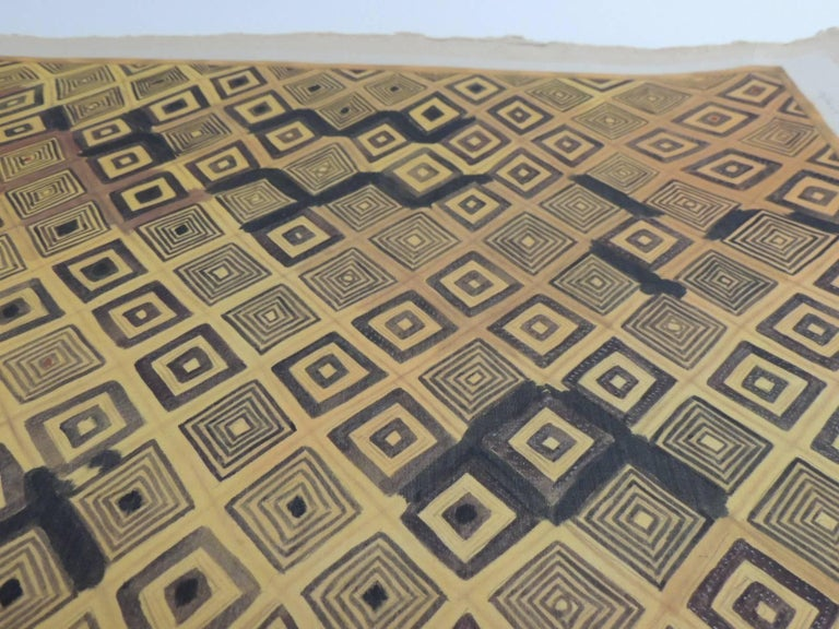 French Framed Hand-Painted African Kuba Velvet Textile Framed Art For Sale