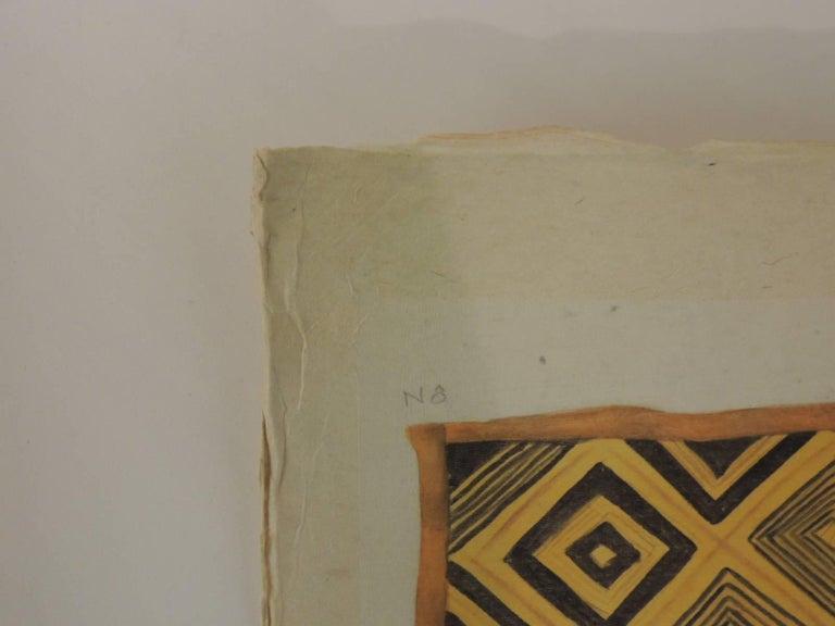 Late 20th Century Framed Hand-Painted African Kuba Velvet Textile Framed Art For Sale