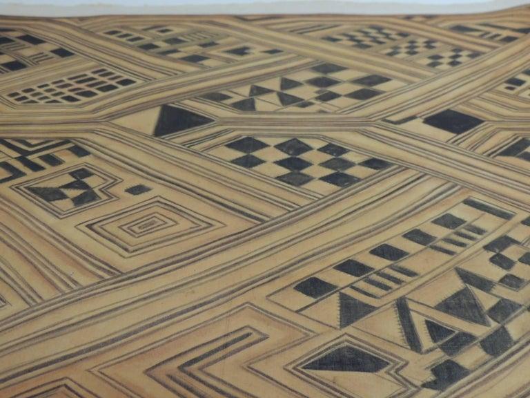 Tribal Vintage Framed Hand-Painted African Kuba Velvet Textile Motif Gouache 2 For Sale