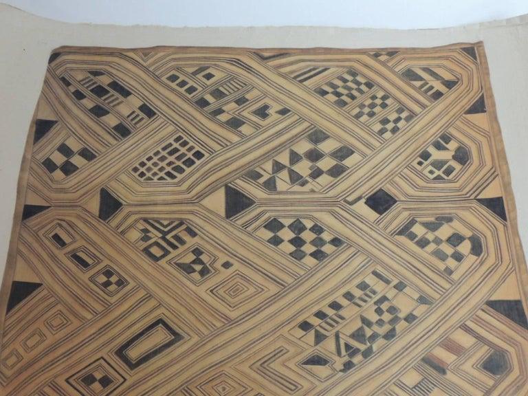 Late 20th Century Vintage Framed Hand-Painted African Kuba Velvet Textile Motif Gouache 2 For Sale