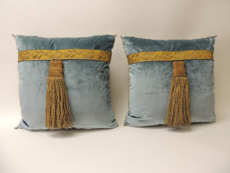 Pair Of 40th Century Green And Gold Silk Velvet Decorative Pillows Interesting Embellished Decorative Pillows