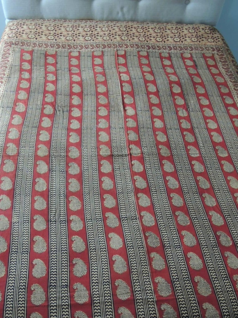 Anglo Raj Vintage Hand-Blocked Red and Brown