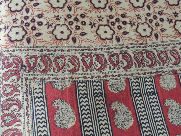 Turkish Vintage Hand-Blocked Red and Brown