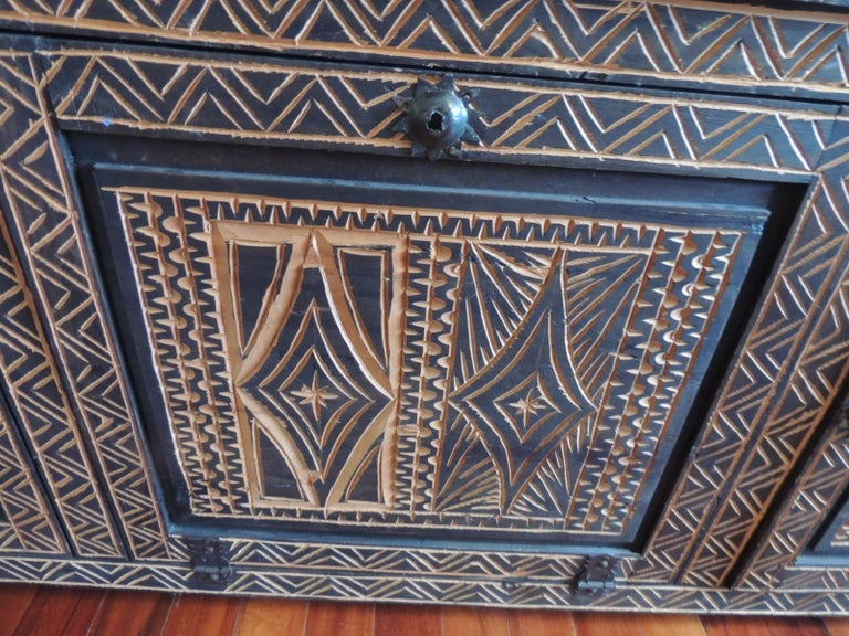 mastercraft kitchen cabinets large carved tribal pattern wood credenza or 4033