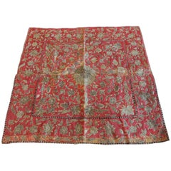 CLOSE OUT SALE: 19th Century Red and Gold Persian Embroidery Square Panel