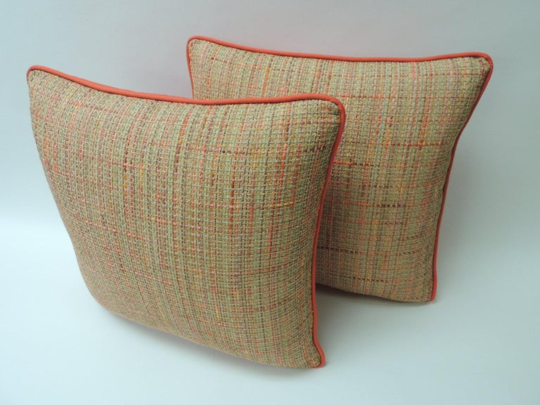 Orange tweet decorative pillow New and customizable Orange cotton and linen modern tweet, square throw customizable decorative pillow with bright Palm beach orange solid cotton backing and self-welt. The price on the pillow includes a custom ATG