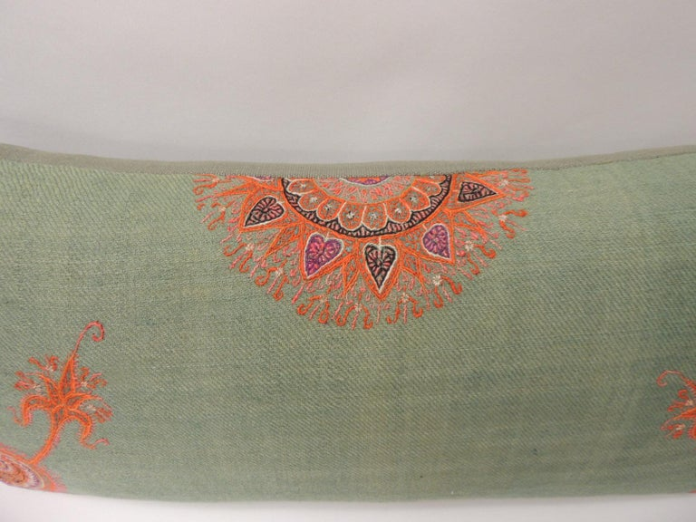 Moorish 19th Century Green Paisley Embroidery Persian Long Bolster Pillow For Sale