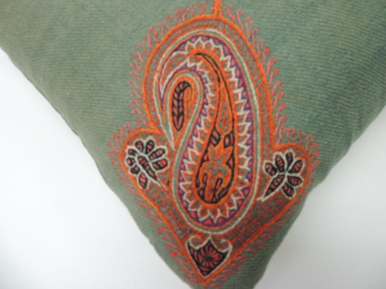 Hand-Crafted 19th Century Green Paisley Embroidery Persian Long Bolster Pillow For Sale