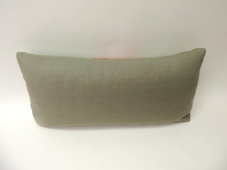 Wool 19th Century Green Paisley Embroidery Persian Long Bolster Pillow For Sale