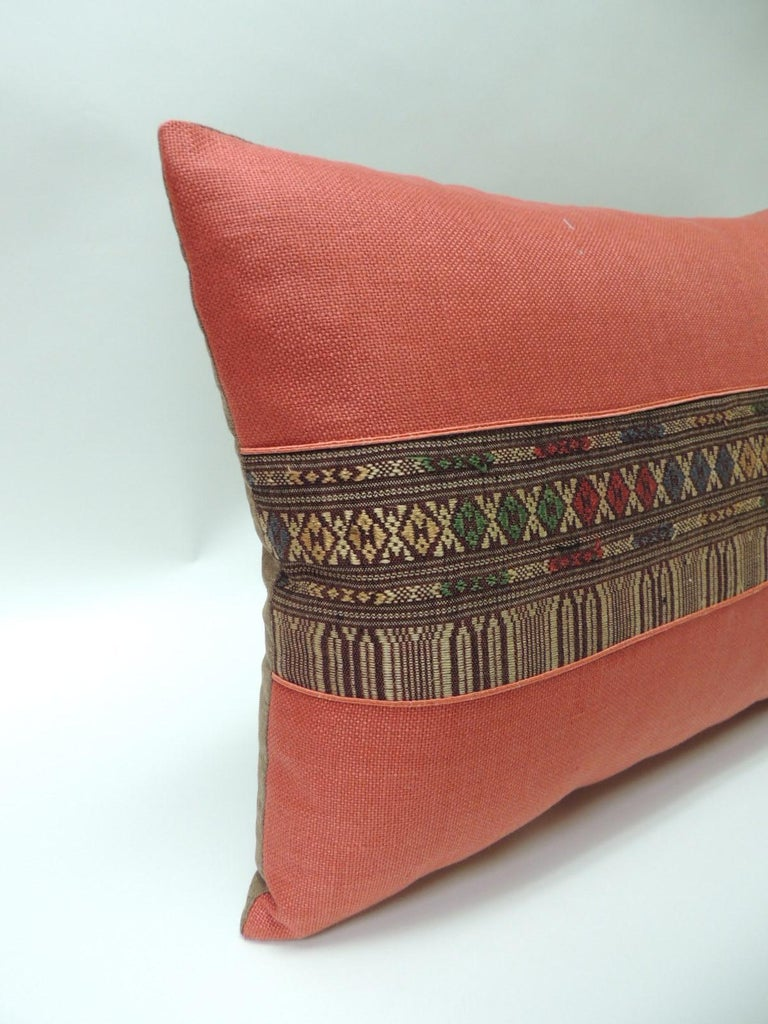 Tribal Pair of Vintage Red Embroidered Asian Decorative Bolster Pillows For Sale