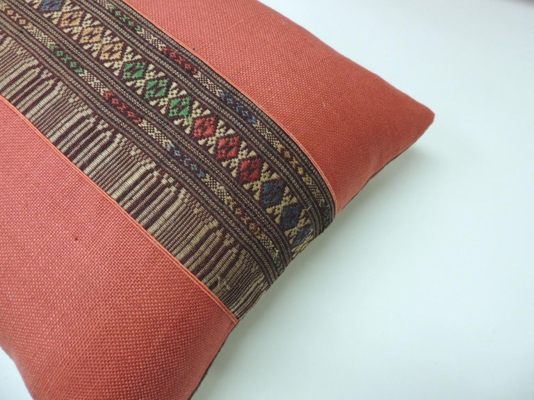 Laotian Pair of Vintage Red Embroidered Asian Decorative Bolster Pillows For Sale