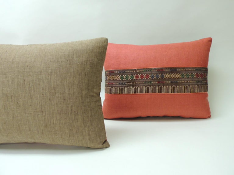 Pair of Vintage Red Embroidered Asian Decorative Bolster Pillows In Good Condition For Sale In Oakland Park, FL