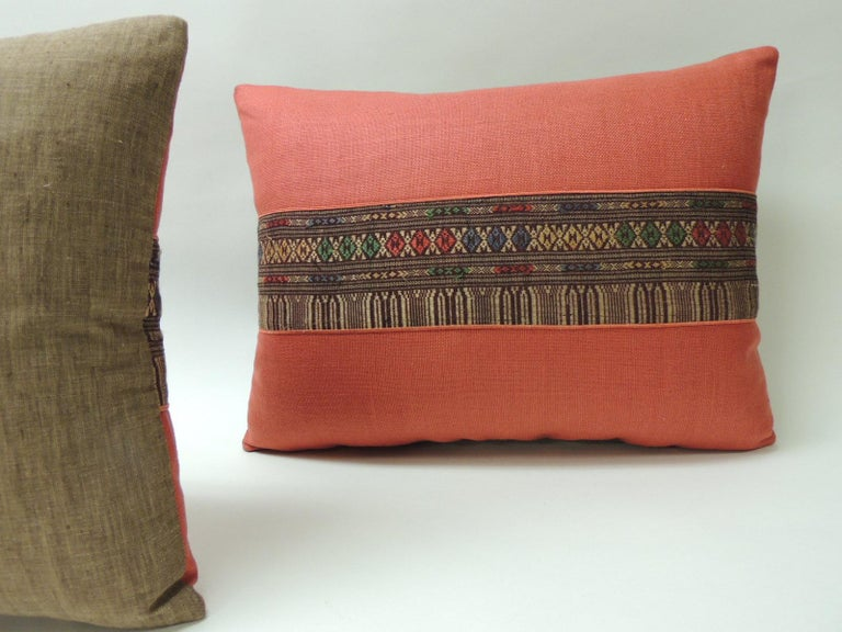 Mid-20th Century Pair of Vintage Red Embroidered Asian Decorative Bolster Pillows For Sale