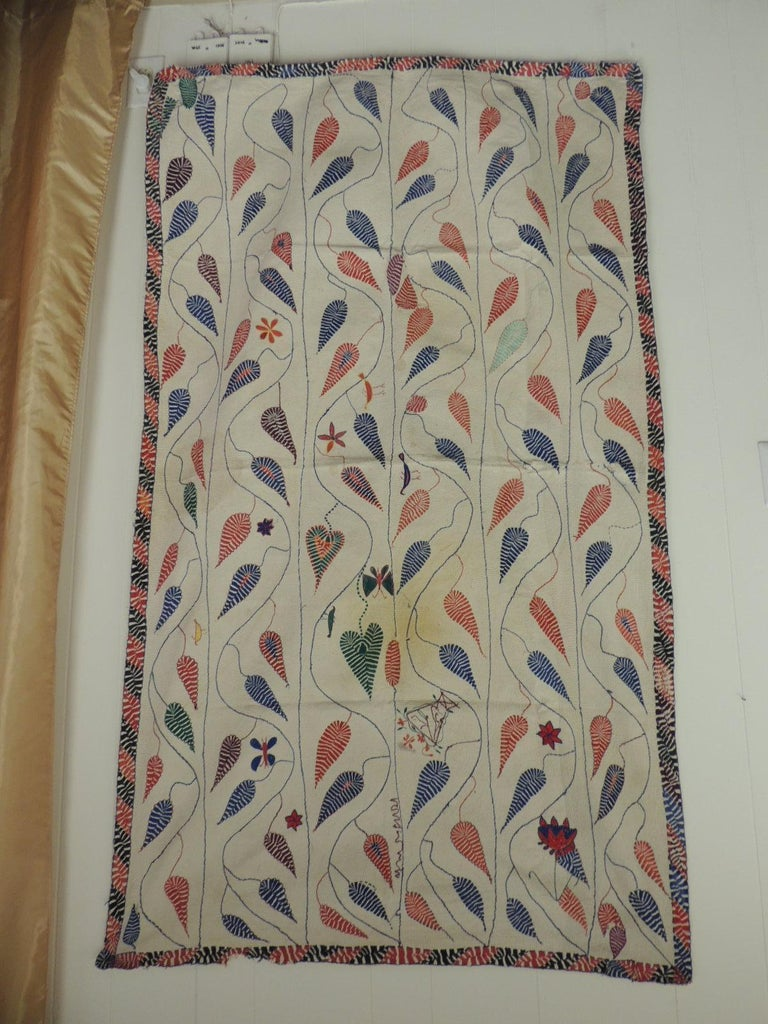 Antique Quilted Indian Paisley wedding ceremonial colorful blanket with embroidery border.