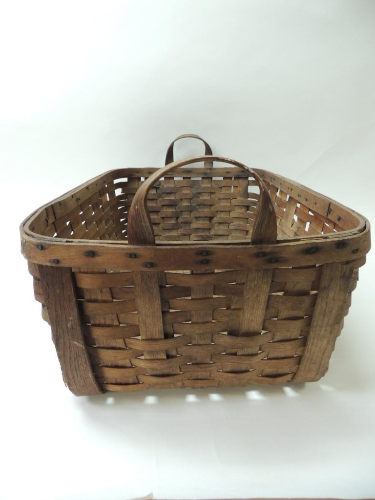 Early 20th Century Antique Large Over Size Wooden Flat Woven Harvest Basket With Handles
