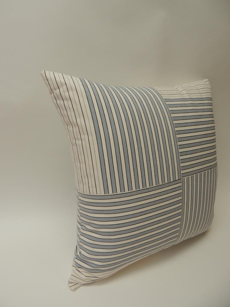 "French Graphic Natural and Charcoal ""Parsons"" Stripes Decorative Pillows Double-Sided For Sale"