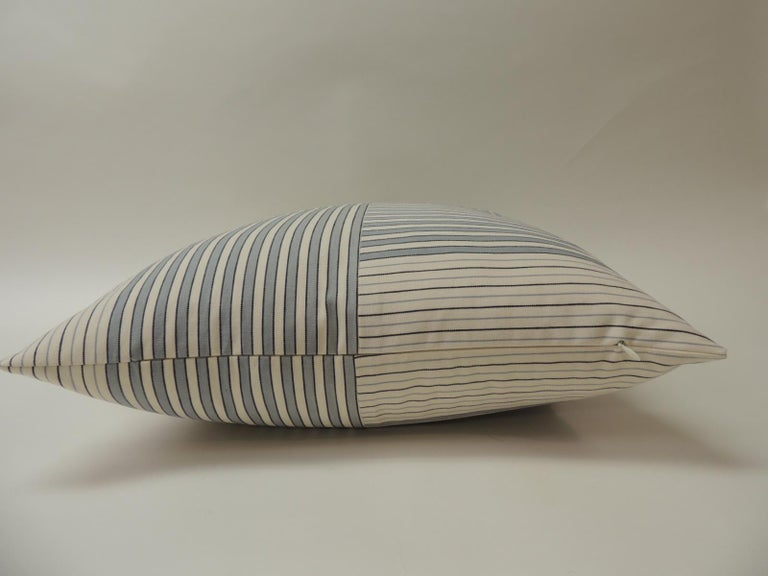 "Mid-Century Modern Graphic Natural and Charcoal ""Parsons"" Stripes Decorative Pillows Double-Sided For Sale"