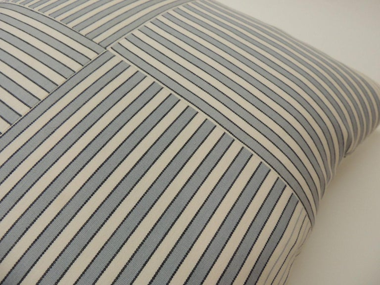 "Hand-Crafted Graphic Natural and Charcoal ""Parsons"" Stripes Decorative Pillows Double-Sided For Sale"