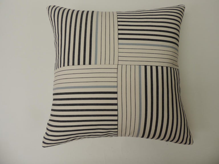 """Graphic natural and charcoal grey """"Parsons"""" stripes decorative pillows double sided #4 Parsons stripes custom ATG decorative pillows using stripes to create this modern pattern, in shades of natural, slate blue and charcoal grey. New and"""