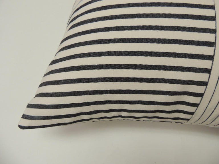 """Mid-Century Modern Graphic Natural and Charcoal """"Parsons"""" Stripes Decorative Pillows Double Sided For Sale"""
