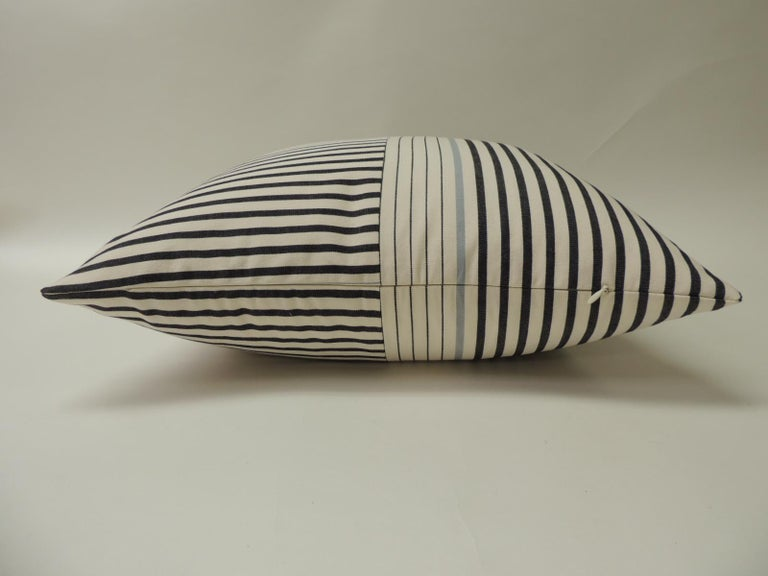 """French Graphic Natural and Charcoal """"Parsons"""" Stripes Decorative Pillows Double Sided For Sale"""