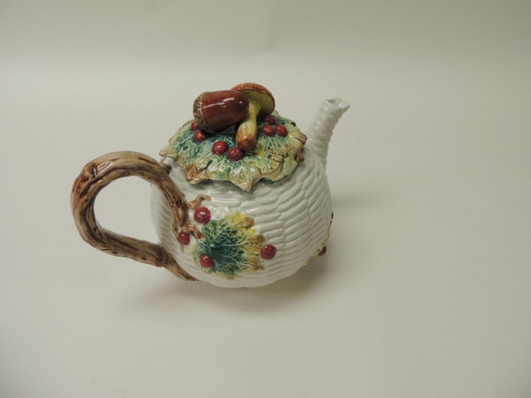 Country Fitz and Floyd White Bone China Harvest Tea Pot For Sale
