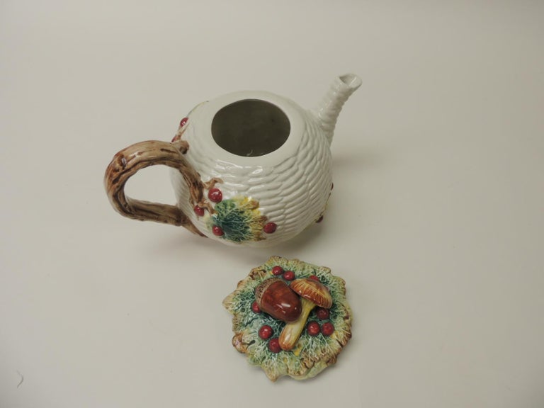 Hand-Crafted Fitz and Floyd White Bone China Harvest Tea Pot For Sale